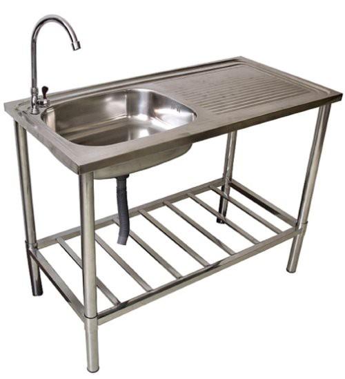 waschtisch waschbecken edelstahl tisch f r au en und gartenbereich ebay. Black Bedroom Furniture Sets. Home Design Ideas